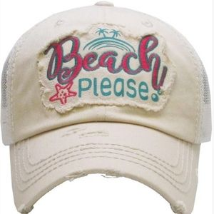 Gift! Beach Please Distressed Fray Cotton Cap Hat